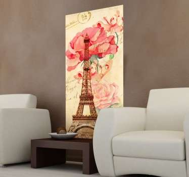 A wall mural from our collection of retro wall stickers illustrating the famous and romantic Eiffel Tower to decorate any space.
