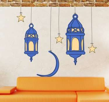 Oriental sticker to decorate your home with arabesque lanterns and other characteristic elements.