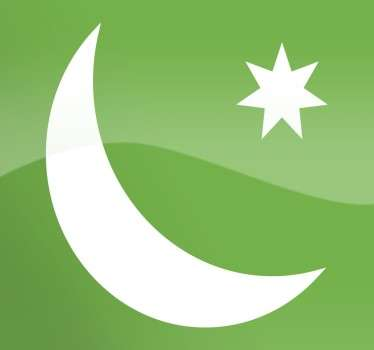 Crescent and seven-pointed star sticker, representative of the religious Muslim icon.