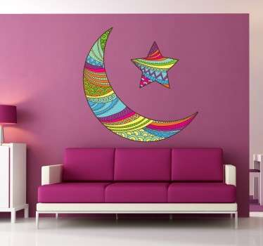 Coloured Arabic Moon and Star Sticker