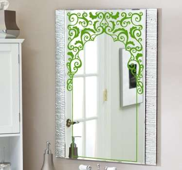 Adesivo specchio orientale fiori