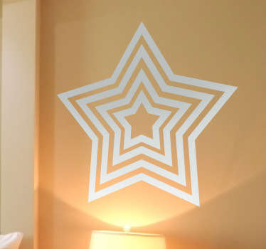 Original decal of a interesting and creative concentric star. A monochrome design from our collection of star wall stickers.