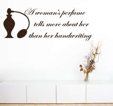 "Wall Quote Art - Fashion - Quote by French fashion designer Christian Dior, ""A woman's perfume tells more about her than her handwriting. """