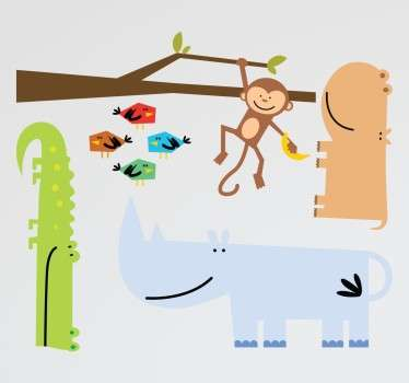 Collection of stickers ideal for children with an animal theme.  monkey, crocodile, rhino, hippo and abstract birds.