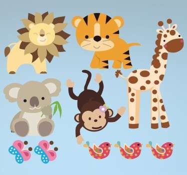 Collection of stickers ideal for children with an animal theme.  A lion, tiger, giraffe, monkey koala bear, butterflies and birds.