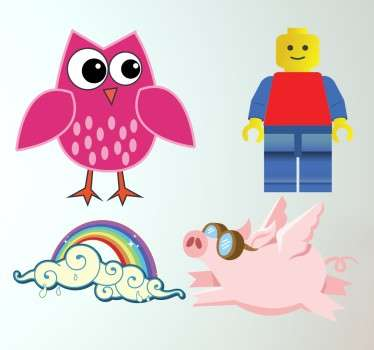 Check out this amazing kids sticker that has a pig, an owl, a rainbow, and a lego. Customize the size. +10,000 happy customers.
