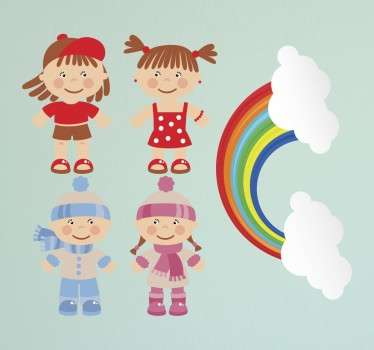 Collection of stickers ideal for children. A set of five cute adorable illustrations of a boy and girl