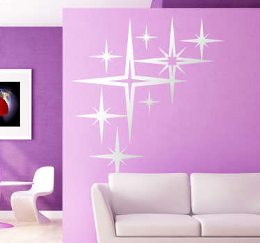 Decorative decal of stars in eight different sizes. A fantastic design from our collection of star wall stickers.