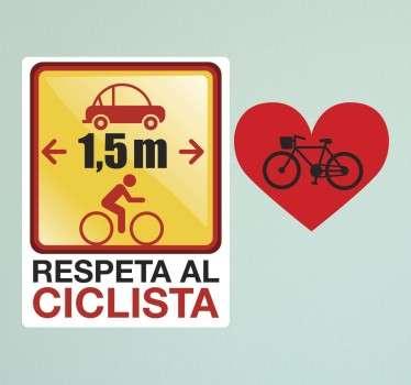 """Colección de stickers para los más entusiastas del mundo del ciclismo. Muestra a todos que deben respetar al ciclista y mantener la distancia mínima reglamentaria mientras que por otro lado personalizas tus accesorios con el clásico """"I Love Bikes""""."""