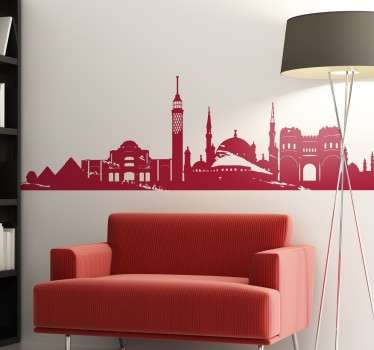 Vinyl wall sticker with some of the most iconic buildings and monuments of Cairo.