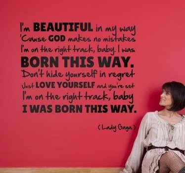 Born The Way Lady Gaga Wall Sticker