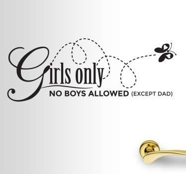 Kids Girls Only Wall Sticker