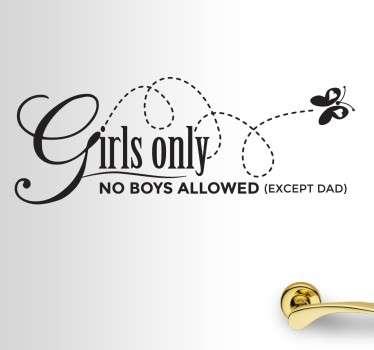 Kinderen meisjes geen jongens vlinder sticker