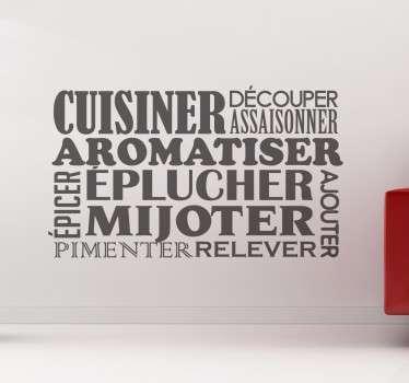 Apportez une touche de gaieté à votre espace cuisine avec ce sticker pêle-mêle inspiré de toutes les étapes d'une recette de cuisine réussie.