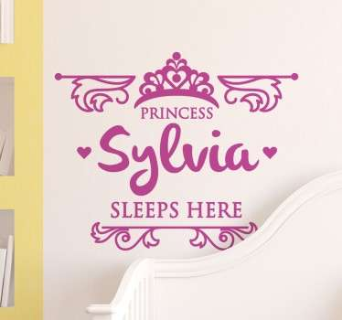 Kids Wall Stickers - Personalised name design great for royal princesses around the world. Princess sleeps here.