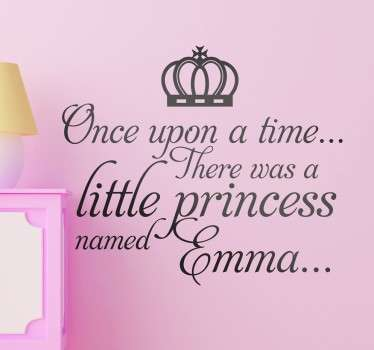 "Kids Wall Stickers - Personalised name design great for little princesses around the world. ""Once upon a time there was a little princess named...""."
