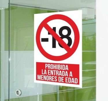 Vinilo cartel prohibida entrada menores