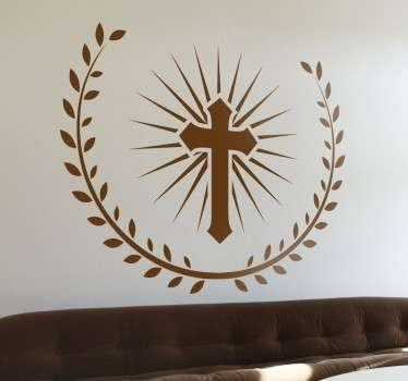 If you consider yourself a religious person and Christian grab this original cross decal from our collection of Christian wall art.