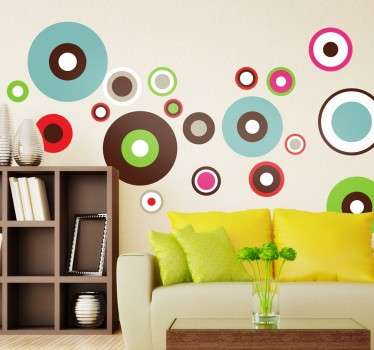 Circle pattern decal with colourful circles to give a retro and 70s feel to your home. Fantastic design decorate your living room!