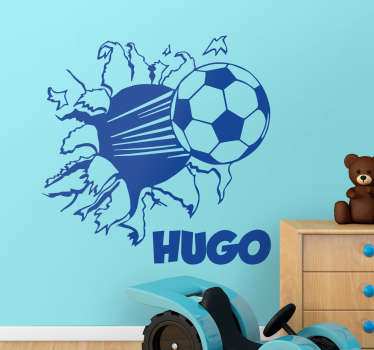 Ideal sticker for small children who love football and would like a customizable name sticker. Perfect decal to decorate your child´s room.