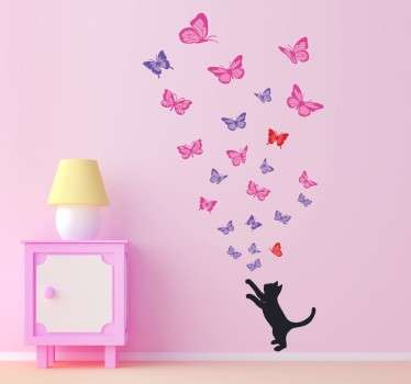 Cat sticker with your favourite pet trying to catch dozens of beautiful butterflies. Decorate your living room or bedroom with this fantastic butterfly wall decal!