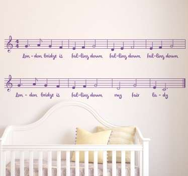 "Kids Wall Stickers - ""London Bridge is falling down"", the popular nursery rhyme. Ideal for decorating areas for children. Available in various sizes."