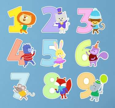 Animal Stickers for children with the numbers 1 to 9 accompanied by fun animals. Fun number stickers for your child´s learning.