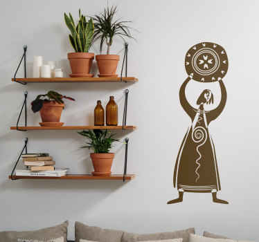 An abstract monochrome sticker of a woman dressed in tribal clothing holding a shield above her head.