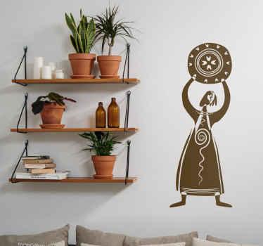 Sticker vrouw schild
