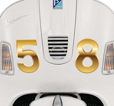 Sticker scooter nummer in goud