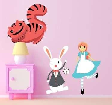 Vinilo infantil Alicia conejo y gato