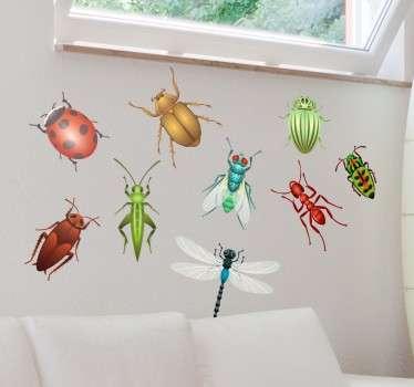 Vinil decorativo conjunto de insectos