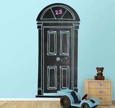 An original sticker with a blackboard surface, in the shape of an elegant looking door.