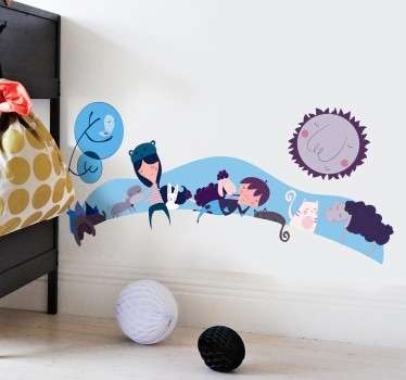 Idyllic landscape decal of children, pets and farm animals that is ideal for children's bedrooms.