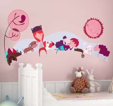 Decorative sticker for children with a representation of a field with cute animals and kids.