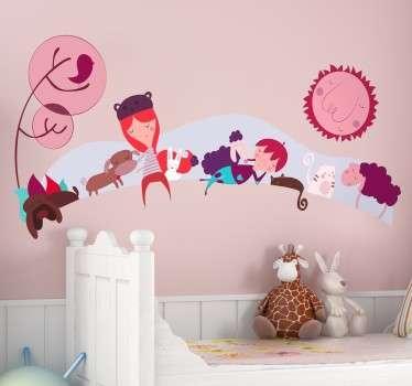 Wandtattoo Kinder mit Tieren rosa