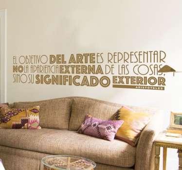 Vinilos decorativos con citas célebres en este caso del filósofo griego Aristóteles.
