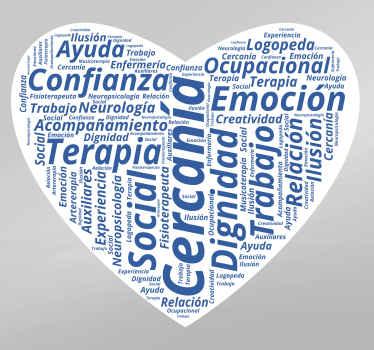 Vinilo con forma de corazón formado con textos relacionados con el mundo de la salud y la medicina.