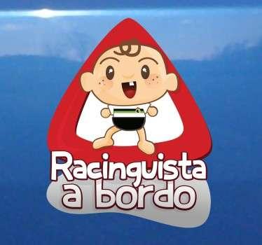 Pegatina para el coche con un diseño original de un bebé seguidor del Racing de Santander. Vinilos personalizados a medida