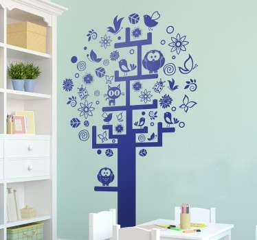 Children's sticker of a beautiful tree full of flowers, leaves, butterflies, birds, owls and even a cat.