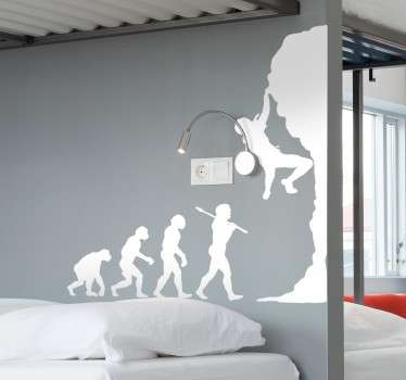 A fun rock climbing wall sticker of an evolution timeline from monkeys to humans climbing! A great design from our collection of funny wall stickers. A superb sports wall decal for those that love the human evolution and extreme sports such as mountaineering and bouldering!