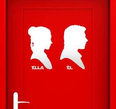 Vinilo de la Guerra de las Galaxias pensado para puertas de lavabos con la silueta de dos de los personajes de la saga.