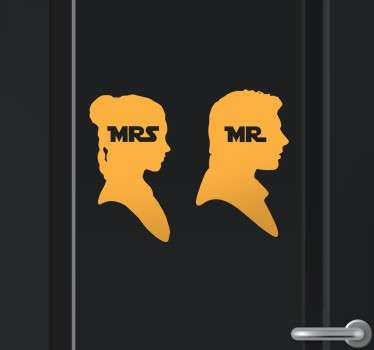 Sticker WC  Mr Mrs Star Wars
