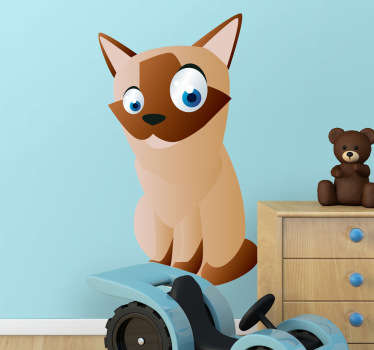 Kid Wall Stickers;Fun and playful illustration of a siamese cat with big eyes. Ideal for the kids´bedrooms and play areas.