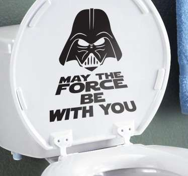 "Adesivo para WC do Star Wars, sticker para dar humor a uma sanita épica frase ""may the force be with you"" com Darth Vader."