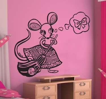 Sticker per bambini bambini topo che pulisce