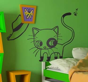 Vinilo decorativo infantil el gato con botas