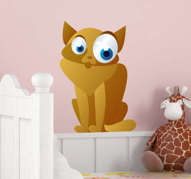 Kid Wall Stickers;Fun and playful illustration of a persian cat with big eyes.Ideal for the kids´bedrooms and play areas.