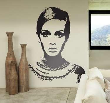 Vinilo para diseño de interiores con un retrato de la emblemática modelo inglesa de los años 60.