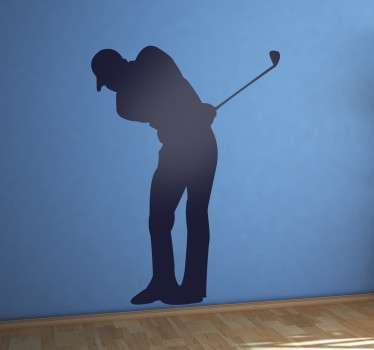 Sports sticker with the profile of a golfer making a putt.